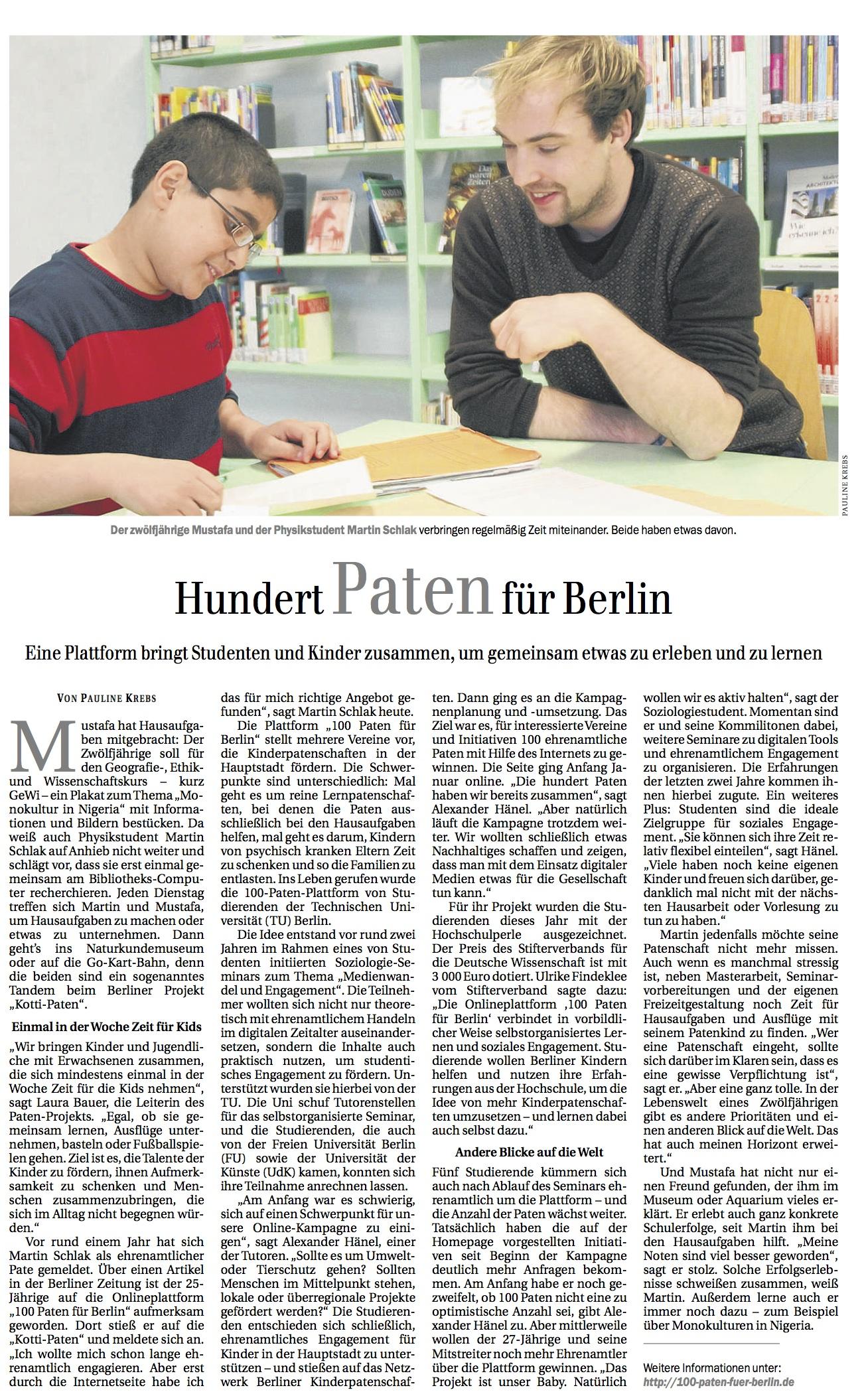 Kotti Paten Presse Berliner Zeitung April 2014
